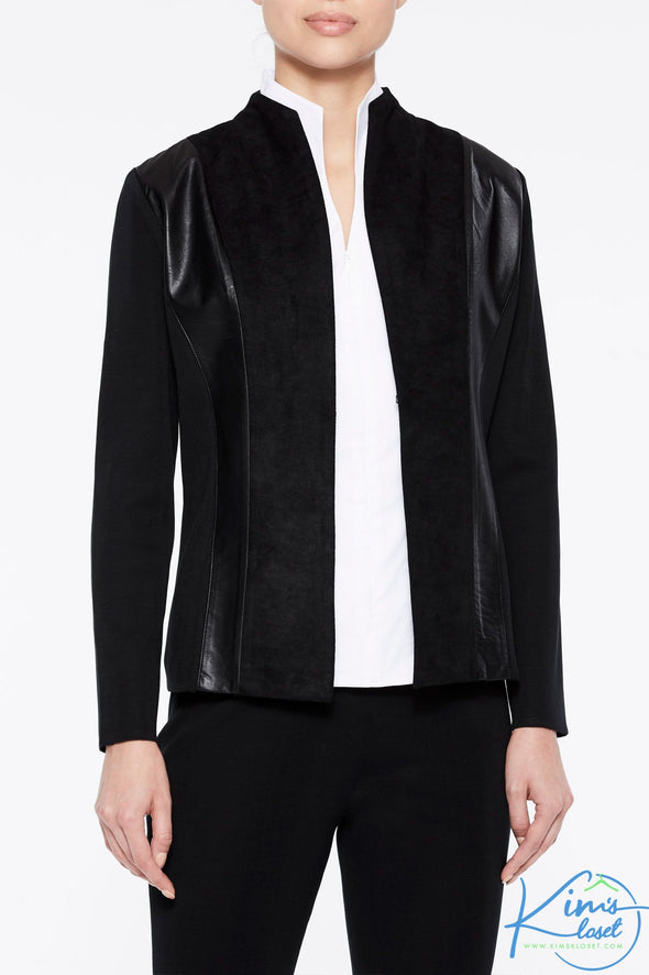 Faux Suede and Leather Knit Jacket - KimsKlosetKCL