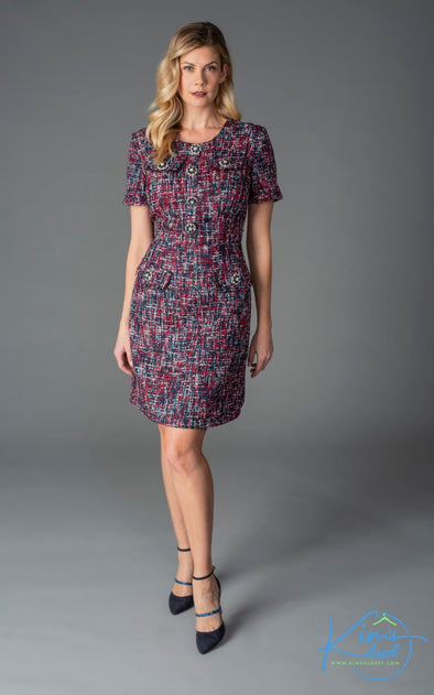 Berry Tweed Dress - KimsKlosetKCL