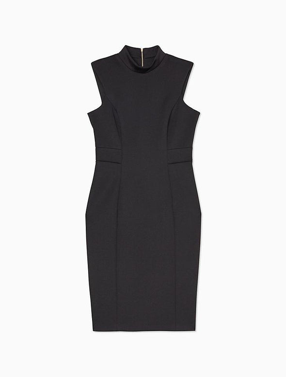 Mock Neck Sleeveless Sheath Dress - KimsKlosetKCL