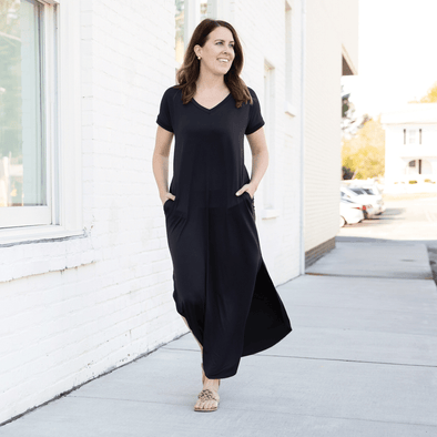 Fitted Maxi Dress | BLACK - KimsKlosetKCL