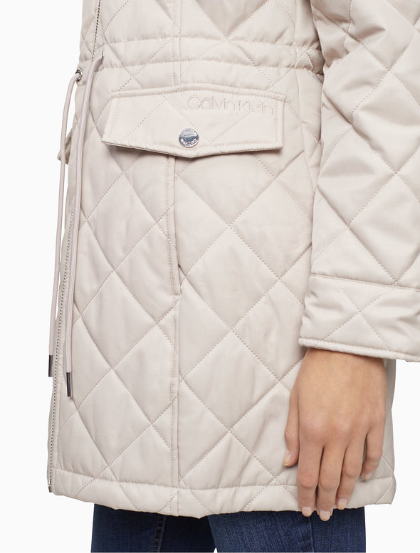 Quilted Cinch Waist Zip Hooded Jacket