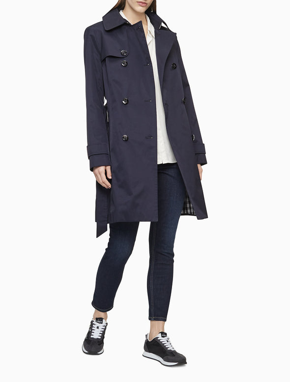 Solid Double Breasted Trench Coat