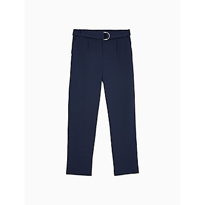 Slim Fit Solid Belted Pants