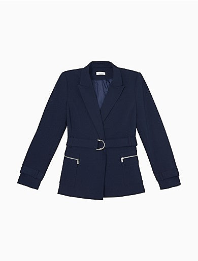 Solid Peak Lapel Belted Jacket