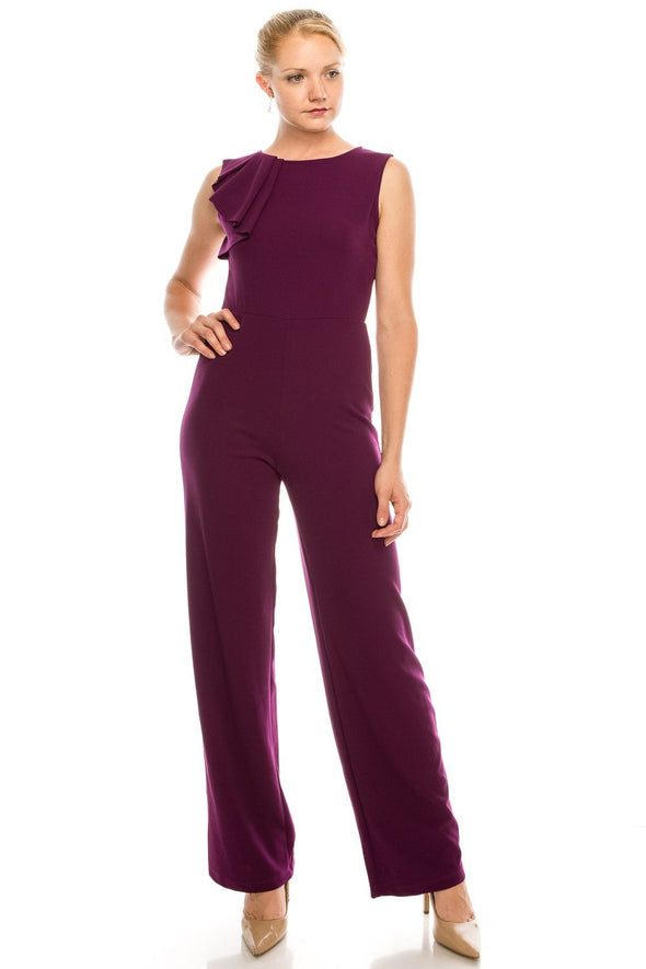 Sleeveless Jumpsuit with a Chic Pleated Ruffle Detail - KimsKlosetKCL