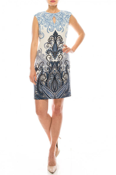 Paisley Print Textured Shift Dress - KimsKlosetKCL
