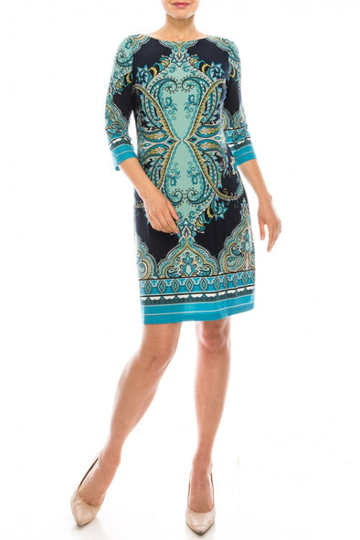 Navy Aqua Paisley Shift Dress - KimsKlosetKCL