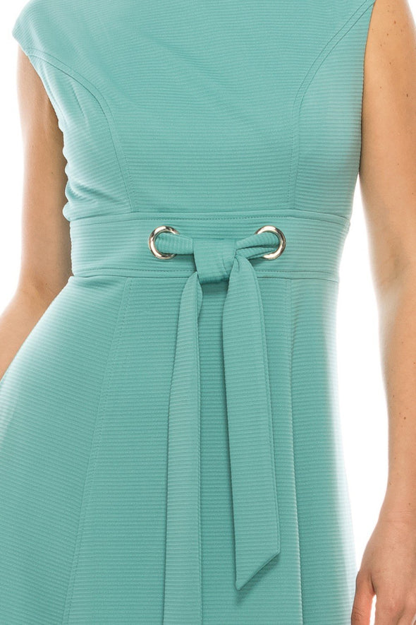 Ottoman Tie Waist Fit & Flare Dress - KimsKlosetKCL