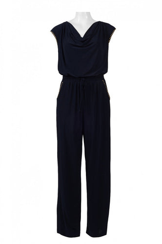 Cowl Neck Jersey Jumpsuit | Embellished