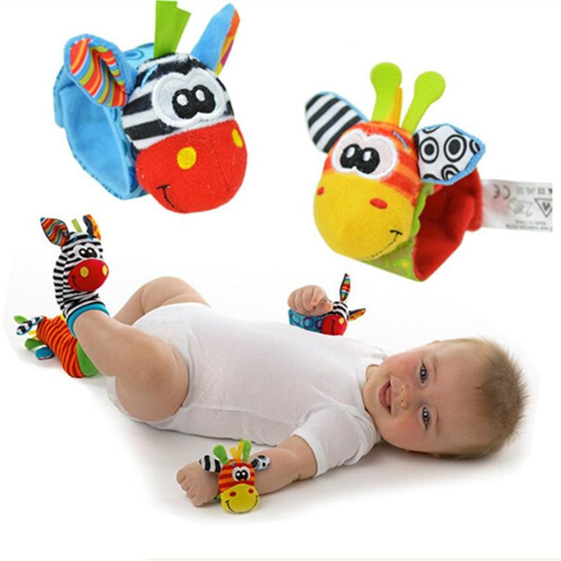 4pcs Infant Baby Wrist Rattle and Foot Socks