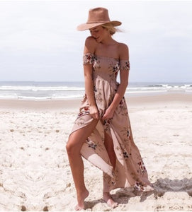 New Women Sexy Side Split Summer Dress Off Shoulder Vintage Print Maxi Dress Women Beach Dress Vestidos