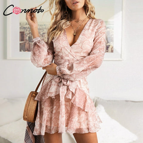 Conmoto Vintage Print Chiffon Wrap Fit and Flare Ruffle Lantern Sleeve Mini Dress
