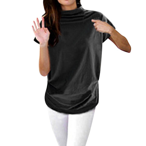 Women Casual Turtleneck Short Sleeve Cotton girl Solid Casual Blouse