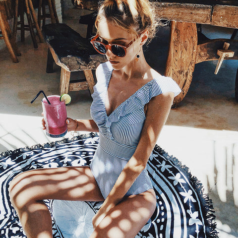 Female Retro V Neck Blue Striped Swimsuit One Piece Ruffled Push Up Padded High Waist Swimwear Women Monokini