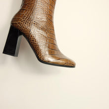 Load image into Gallery viewer, Kosedy Nairobi Croc Boot Block Heel