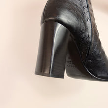Load image into Gallery viewer, Kosedy Nairobi Black Nero Ostrich Boot Block Heel