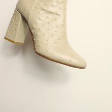 Load image into Gallery viewer, Kosedy Nairobi Beige Nude Ostrich Boot Block Heel