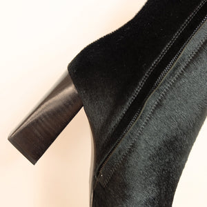 Kosedy Nairobi Black Nero Pony Boot Block Heel