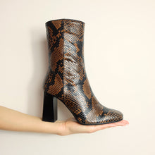Load image into Gallery viewer, Kosedy Nairobi Python Boot Block Heel