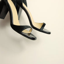 Load image into Gallery viewer, Kosedy Serengeti Black Nero Pony Sandal Block Heel