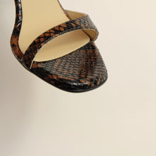 Load image into Gallery viewer, Kosedy Serengeti Python Sandal Block Heel