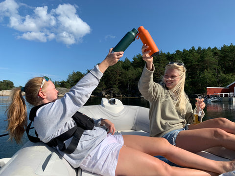 Two of our earliest supporters soaking up some summer weather in Norway