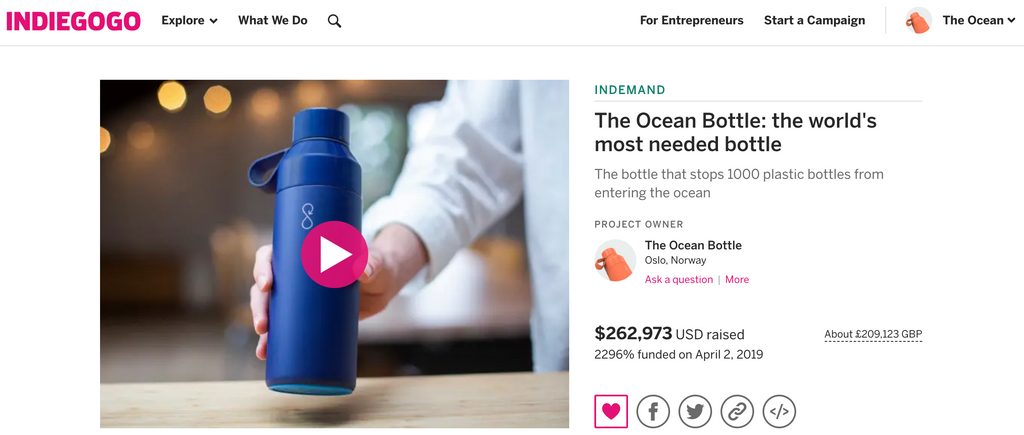Ocean Bottle on Indiegogo