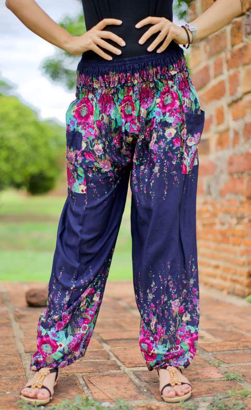 Purple floral bohemian pants