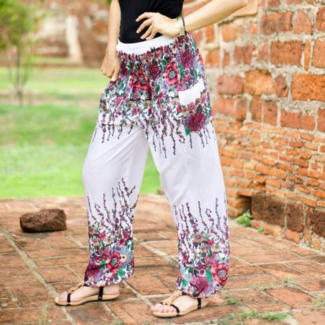 White flower bohemian pants