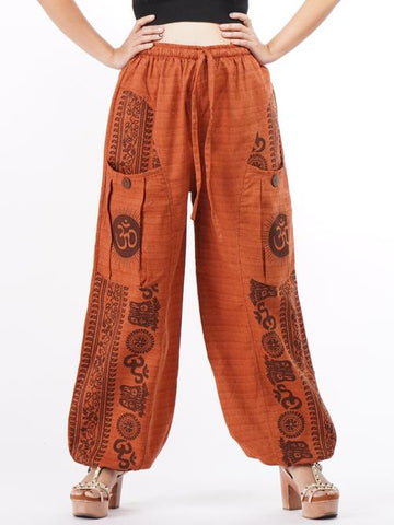 bohemian cotton pants orange