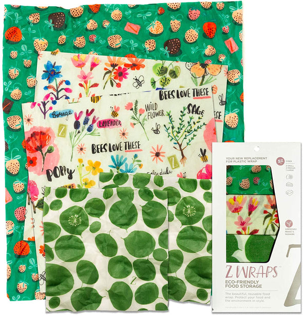 Z Wrap: Leafy/Bees/Strawberries Set / 5