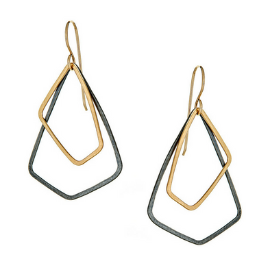 Earrings: Petite Akara Oxidized Silver + Gold