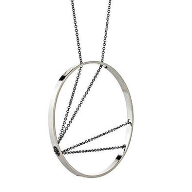 Necklace: Arc in Sterling Silver with Oxidized Chain