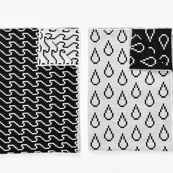 Bitmap Tea Towels S/2 Black Wave
