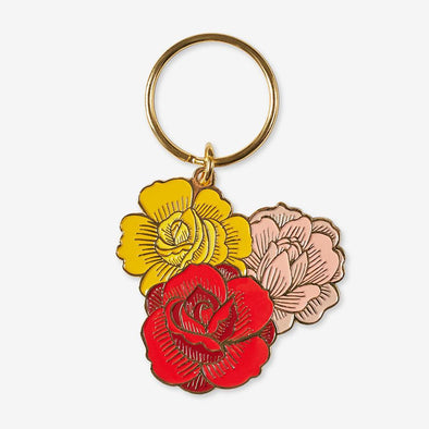 Enamel Keychain: Three Flowers