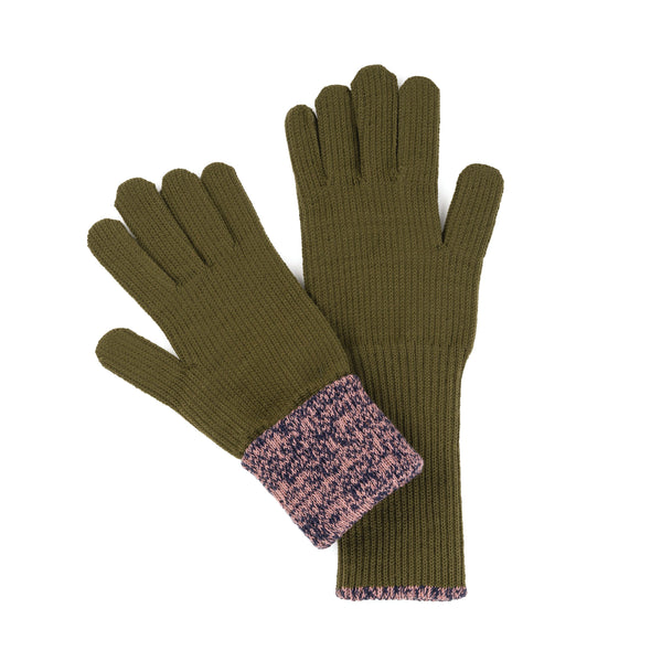 Gloves: Long Moss/ Pink Ribbed