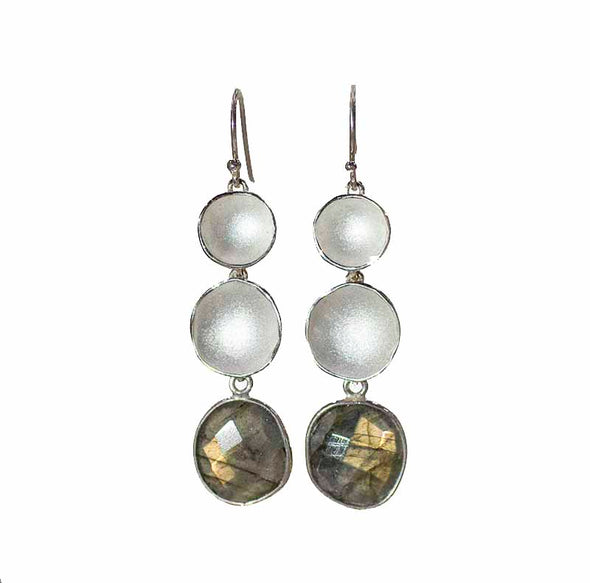 Earring: Double Step Labradorite