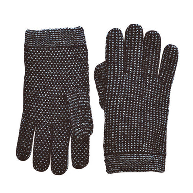 Mix Stitch Gloves: Black/White