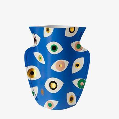 Mini Paper Vase: Nazar Blue