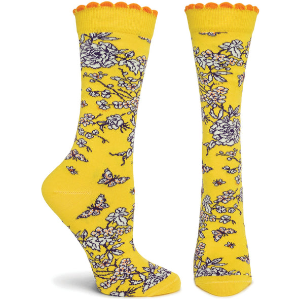 Socks: Floral de Jouy Yellow