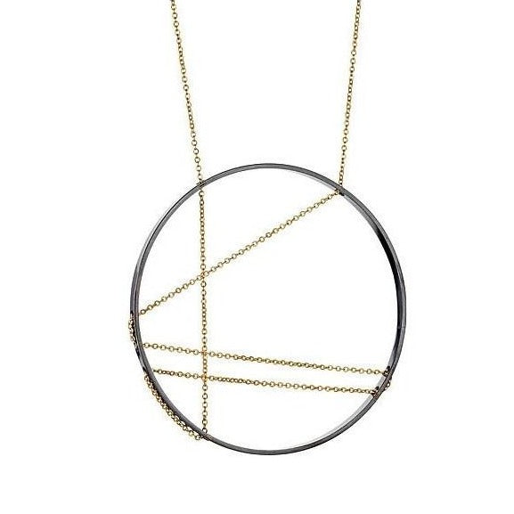 Necklace: Mondrian in Oxidized Sterling with Gold Chain