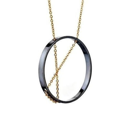 Necklace: Inner Circle in Oxidized Sterling + Gold