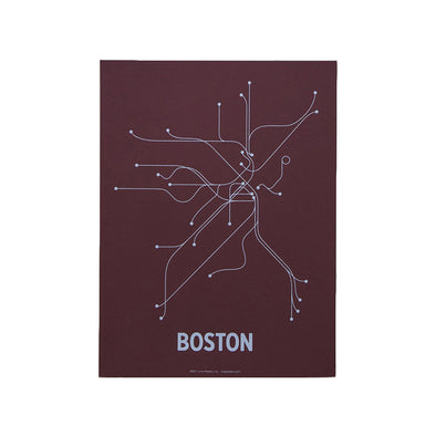 Boston Subway Screen Print: Maroon