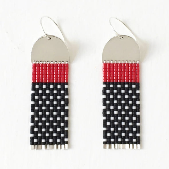 Earring: red / black bead SS