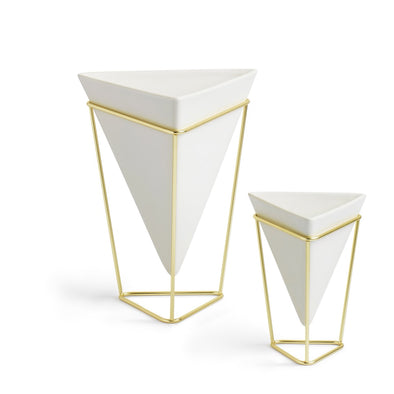 Trigg Planter Set White/Brass