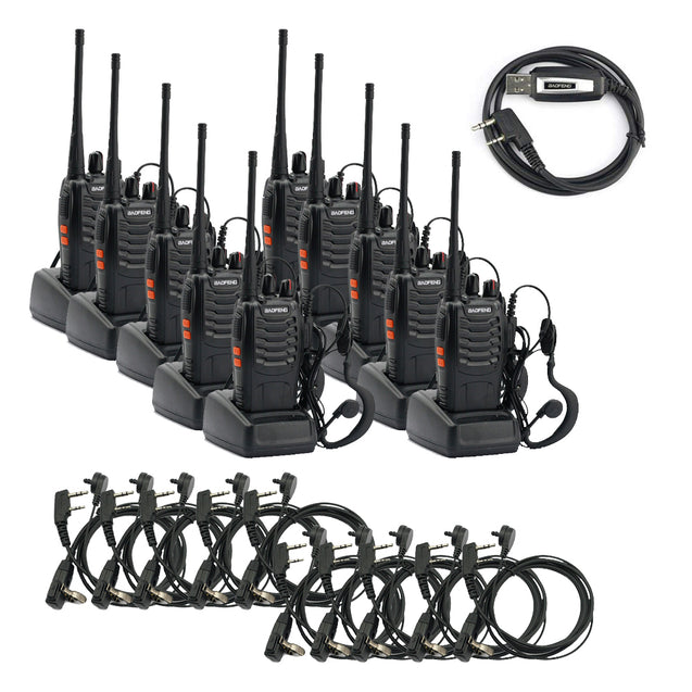 BF-888S [10 Pack + 10 Acoustic Earpiece + 1 Cable] 5W UHF Radio