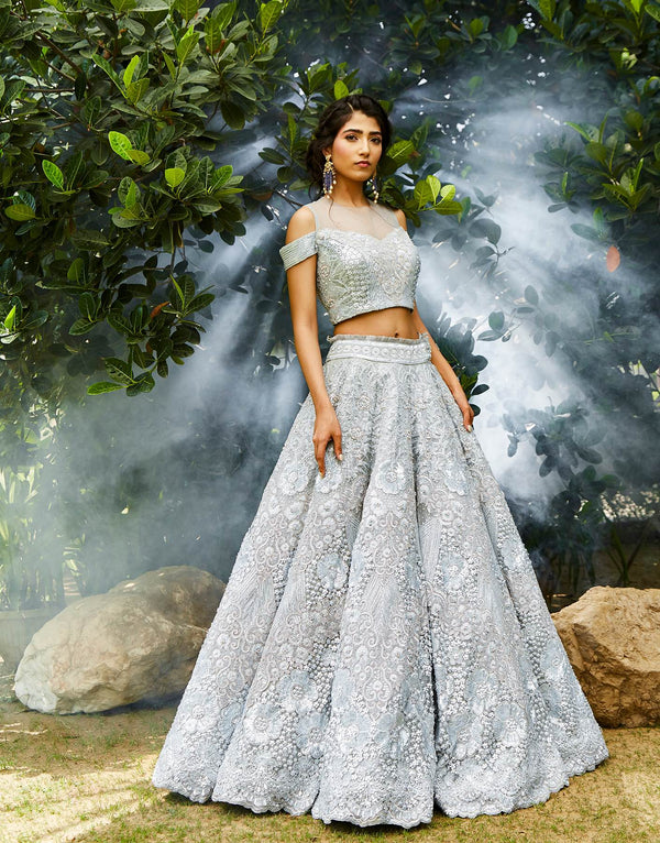 Powder Blue Structured Lehenga Set - Akilah