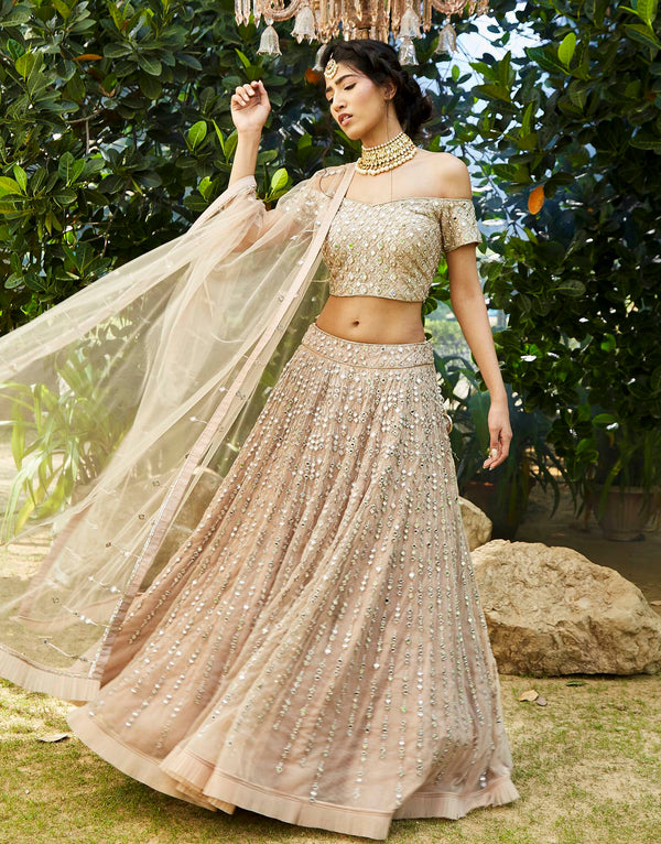 Mirror Embellished Lehenga Set - Akilah
