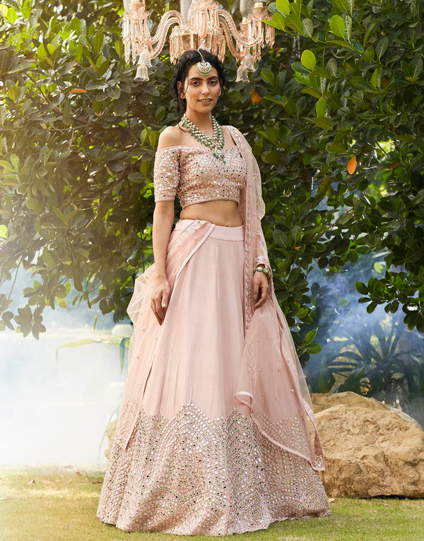 Off Shoulder Mirror Embellished Blouse & Lehenga Set - Akilah