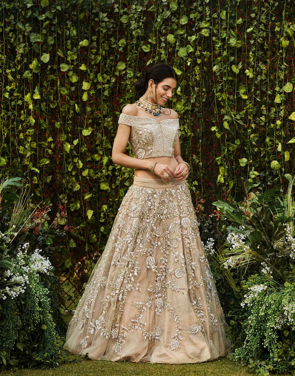 Champagne Lehenga Set With Sequins Work - Akilah